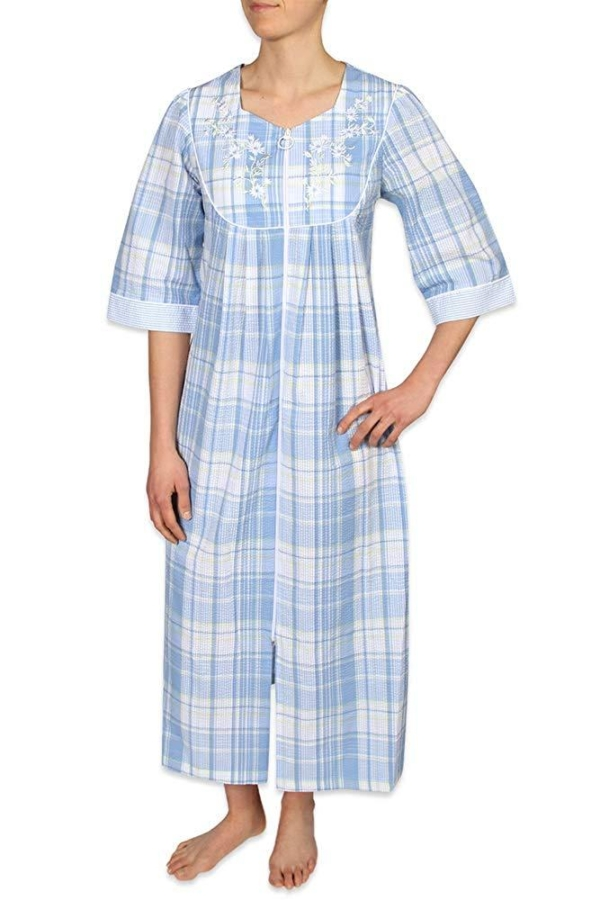 Miss Elaine Blue Plaid House Coat Front View