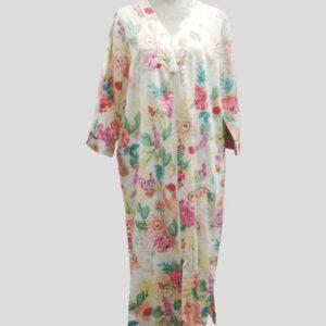 Miss Elaine Peach Floral Sateen Housecoat