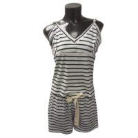 Shorty Pyjama Set- Black & White Stripe